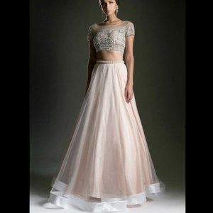 Two Piece Net Overlay Long Prom Dress